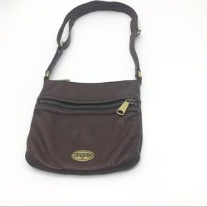 Fossil brown leather crossbody or carry purse EUC.